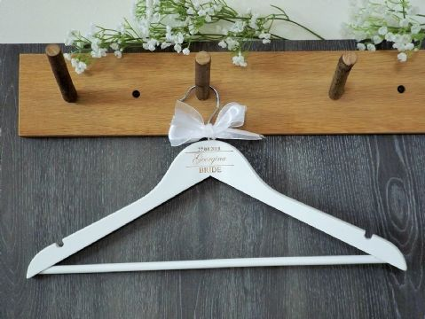 Personalised White Wooden Wedding Dress Hanger Bride Bridesmaid Bow (D2)